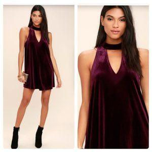Lulu's Sweet Song Plum Purple Velvet Swing Dress